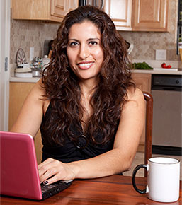 hispanic girl on laptop